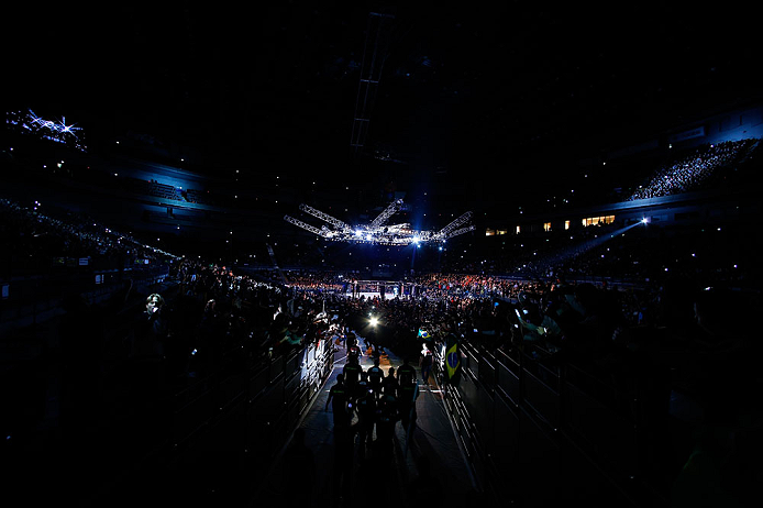 SAITAMA, JAPAN - MARCH 03:  A general view of the arena as Wanderlei Silva enters before his fight against Brian Stann during the UFC on FUEL TV event at Saitama Super Arena on March 3, 2013 in Saitama, Japan.  (Photo by Josh Hedges/Zuffa LLC/Zuffa LLC via Getty Images)