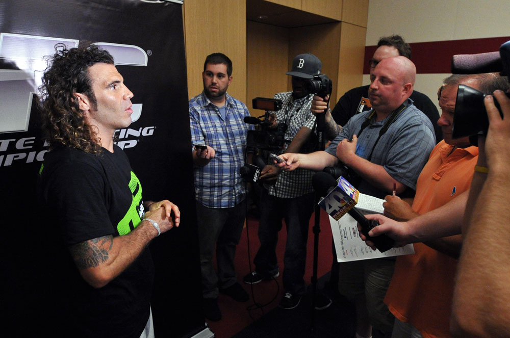 ATLANTIC CITY, NJ - JUNE 20: Clay Guida answers questions after an open workout prior to UFC on FX at Revel Casino in Atlantic City, New Jersey. (Photo by Drew Hallowell/Zuffa LLC/Zuffa LLC via Getty Images)