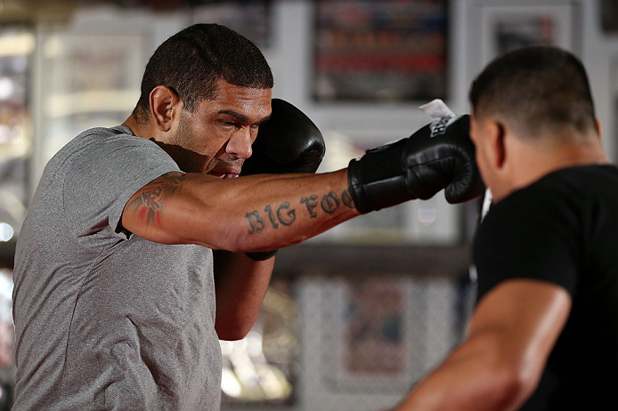"MINNEAPOLIS, MN - OCTOBER 02:  Antonio ""Bigfoot"" Silva works out for media and fans during an open training session at Cellar Kickboxing and Martial Arts on October 2, 2012 in Minneapolis, Minnesota.  (Photo by Josh Hedges/Zuffa LLC/Zuffa LLC via Getty Images)"