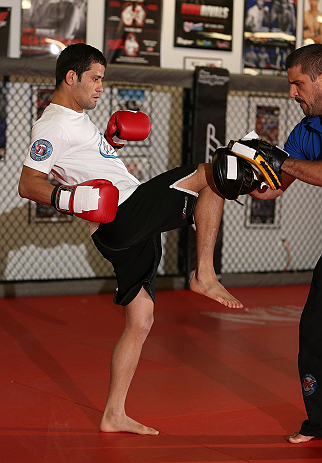 MINNEAPOLIS, MN - OCTOBER 02:  Jussier Formiga works out for media and fans during an open training session at Cellar Kickboxing and Martial Arts on October 2, 2012 in Minneapolis, Minnesota.  (Photo by Josh Hedges/Zuffa LLC/Zuffa LLC via Getty Images)
