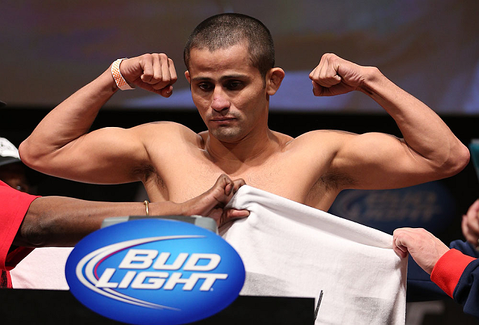 MINNEAPOLIS, MN - OCTOBER 04:  Jussier Formiga weighs in during the UFC on FX weigh in at Pantages Theater on October 4, 2012 in Minneapolis, Minnesota.  (Photo by Josh Hedges/Zuffa LLC/Zuffa LLC via Getty Images)