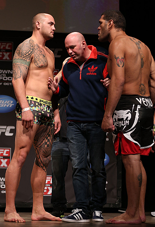 MINNEAPOLIS, MN - OCTOBER 04:  Opponents Travis Browne (L) and Antonio &quot;Bigfoot&quot; Silva (R) are separated by UFC President Dana White during the UFC on FX weigh in at Pantages Theater on October 4, 2012 in Minneapolis, Minnesota.  (Photo by Josh Hedges/Zuffa LLC/Zuffa LLC via Getty Images)
