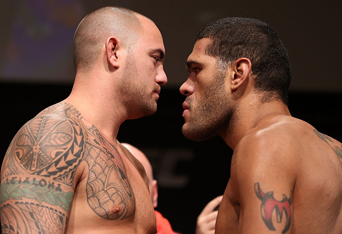 "MINNEAPOLIS, MN - OCTOBER 04:  Opponents Travis Browne (L) and Antonio ""Bigfoot"" Silva (R) face off during the UFC on FX weigh in at Pantages Theater on October 4, 2012 in Minneapolis, Minnesota.  (Photo by Josh Hedges/Zuffa LLC/Zuffa LLC via Getty Images)"