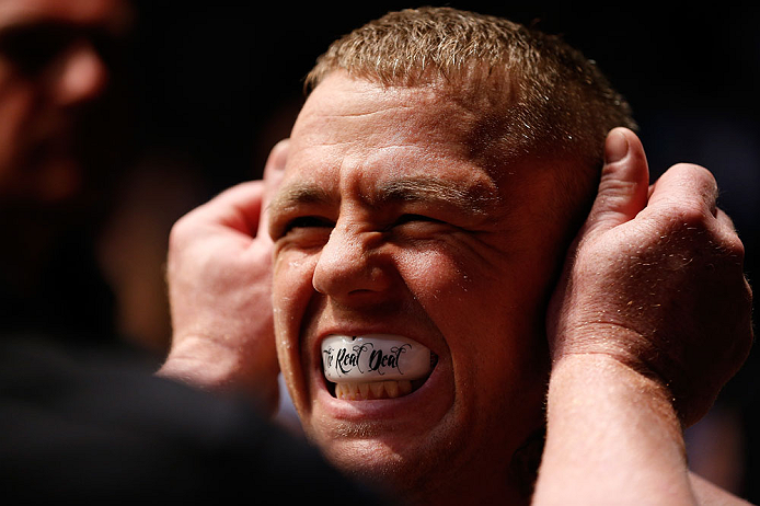 GOLD COAST, AUSTRALIA - DECEMBER 15:  Ross Pearson prepares to enter the Octagon before his lightweight fight against George Sotiropoulos at the UFC on FX event on December 15, 2012  at Gold Coast Convention and Exhibition Centre in Gold Coast, Australia.  (Photo by Josh Hedges/Zuffa LLC/Zuffa LLC via Getty Images)