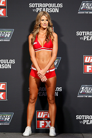 GOLD COAST, AUSTRALIA - DECEMBER 14:  UFC Octagon Girl Kristie McKeon during the UFC on FX weigh in on December 14, 2012 at Gold Coast Convention and Exhibition Centre in Gold Coast, Queensland, Australia.  (Photo by Josh Hedges/Zuffa LLC/Zuffa LLC via Getty Images)