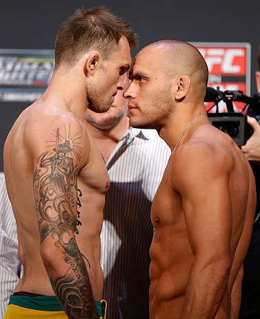 GOLD COAST, AUSTRALIA - DECEMBER 14:  (L-R) Opponents Benny Alloway and Manuel Rodriguez face off during the UFC on FX weigh in on December 14, 2012 at Gold Coast Convention and Exhibition Centre in Gold Coast, Queensland, Australia.  (Photo by Josh Hedges/Zuffa LLC/Zuffa LLC via Getty Images)