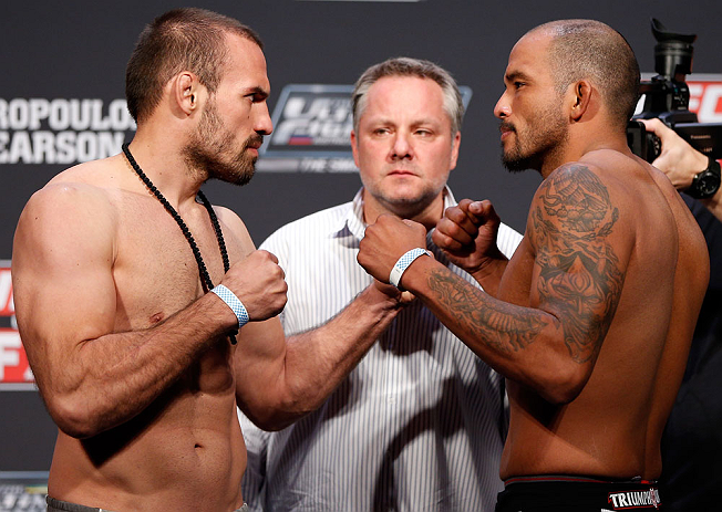 GOLD COAST, AUSTRALIA - DECEMBER 14:  (L-R) Opponents Igor Pokrajac and Joey Beltran face off during the UFC on FX weigh in on December 14, 2012 at Gold Coast Convention and Exhibition Centre in Gold Coast, Queensland, Australia.  (Photo by Josh Hedges/Zuffa LLC/Zuffa LLC via Getty Images)