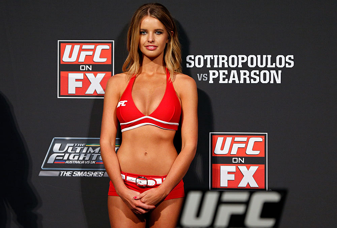 GOLD COAST, AUSTRALIA - DECEMBER 14:  UFC Octagon Girl Kahili Blundell stands on stage during the UFC on FX weigh in on December 14, 2012 at Gold Coast Convention and Exhibition Centre in Gold Coast, Queensland, Australia.  (Photo by Josh Hedges/Zuffa LLC/Zuffa LLC via Getty Images)