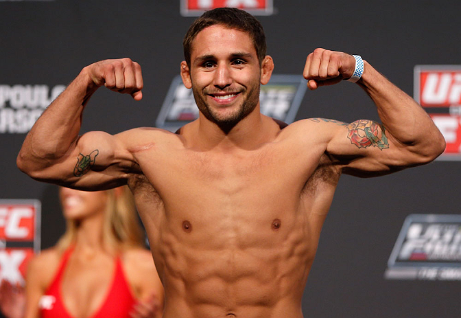 GOLD COAST, AUSTRALIA - DECEMBER 14:  Chad Mendes weighs in during the UFC on FX weigh in on December 14, 2012 at Gold Coast Convention and Exhibition Centre in Gold Coast, Queensland, Australia.  (Photo by Josh Hedges/Zuffa LLC/Zuffa LLC via Getty Images)