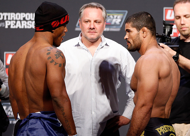 GOLD COAST, AUSTRALIA - DECEMBER 14:  (L-R) Opponents Hector Lombard and Rousimar Palhares face off during the UFC on FX weigh in on December 14, 2012 at Gold Coast Convention and Exhibition Centre in Gold Coast, Queensland, Australia.  (Photo by Josh Hedges/Zuffa LLC/Zuffa LLC via Getty Images)