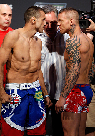 GOLD COAST, AUSTRALIA - DECEMBER 14:  (L-R) Opponents George Sotiropoulos and Ross Pearson face off during the UFC on FX weigh in on December 14, 2012 at Gold Coast Convention and Exhibition Centre in Gold Coast, Queensland, Australia.  (Photo by Josh Hedges/Zuffa LLC/Zuffa LLC via Getty Images)