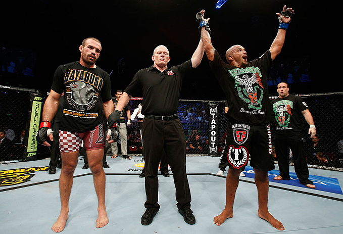 GOLD COAST, AUSTRALIA - DECEMBER 15:  Joey Beltran (R) reacts after defeating Igor Pokrajac during their light heavyweight fight at the UFC on FX event on December 15, 2012  at Gold Coast Convention and Exhibition Centre in Gold Coast, Australia.  (Photo by Josh Hedges/Zuffa LLC/Zuffa LLC via Getty Images)