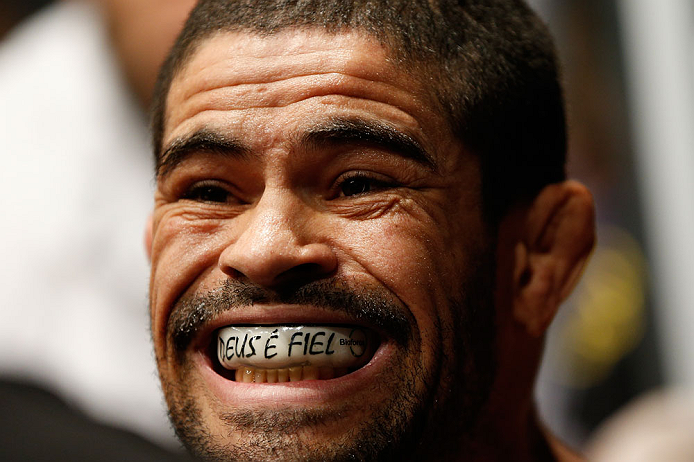 GOLD COAST, AUSTRALIA - DECEMBER 15:  Rousimar Palhares prepares to enter the Octagon before his middleweight fight against Hector Lombard at the UFC on FX event on December 15, 2012  at Gold Coast Convention and Exhibition Centre in Gold Coast, Australia.  (Photo by Josh Hedges/Zuffa LLC/Zuffa LLC via Getty Images)