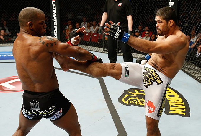 GOLD COAST, AUSTRALIA - DECEMBER 15:  (R-L) Rousimar Palhares kicks Hector Lombard during their middleweight fight at the UFC on FX event on December 15, 2012  at Gold Coast Convention and Exhibition Centre in Gold Coast, Australia.  (Photo by Josh Hedges/Zuffa LLC/Zuffa LLC via Getty Images)
