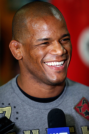 GOLD COAST, AUSTRALIA - DECEMBER 13:  Hector Lombard answers questions from journalists during the UFC on FX open workouts on December 13, 2012 at Boonchu Gym in Gold Coast, Australia.  (Photo by Josh Hedges/Zuffa LLC/Zuffa LLC via Getty Images)