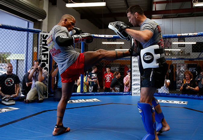 GOLD COAST, AUSTRALIA - DECEMBER 13:  Hector Lombard works out for the media during the UFC on FX open workouts on December 13, 2012 at Boonchu Gym in Gold Coast, Australia.  (Photo by Josh Hedges/Zuffa LLC/Zuffa LLC via Getty Images)