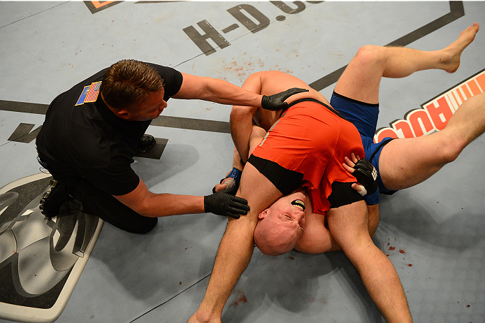 LAS VEGAS, NV - OCTOBER 16:  (L-R) Patrick Walsh submits Doug Sparks in their elimination fight during filming of season nineteen of The Ultimate Fighter on October 16, 2013 in Las Vegas, Nevada. (Photo by Al Powers/Zuffa LLC/Zuffa LLC via Getty Images) *** Local Caption *** Doug Sparks; Patrick Walsh