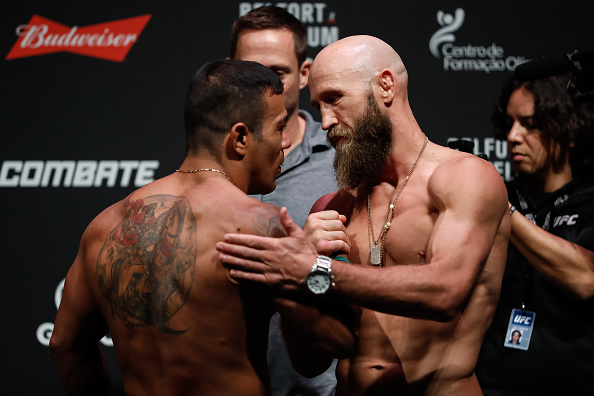 FORTALEZA, BRAZIL - MARCH 10: Opponents Michael Prazeres (L) of Brazil and Joshua Burkman of the United States face off during the UFC Fight Night weigh-in at CFO - Centro de Forma�co Olmpica on March 10, 2017 in Fortaleza, Brazil. (Photo by Buda Mendes/Zuffa LLC/Zuffa LLC via Getty Images)