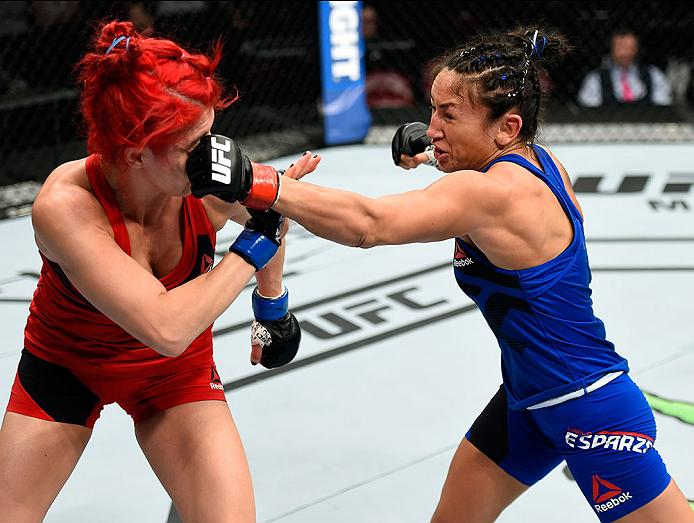 HALIFAX, NS - FEBRUARY 19: (R-L) Carla Esparza punches Randa Markos of Iraq in their women's strawweight fight during the UFC Fight Night event inside the Scotiabank Centre on February 19, 2017 in Halifax, Nova Scotia, Canada. (Photo by Josh Hedges/Zuffa LLC)
