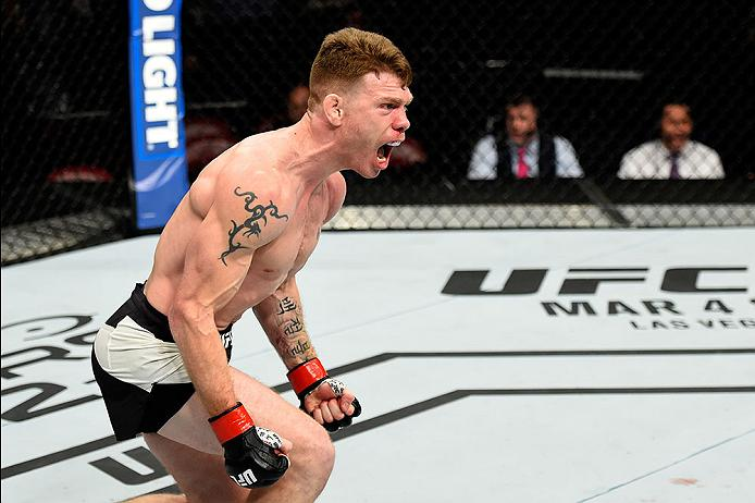 <a href='../fighter/paul-felder'>Paul Felder</a> celebrates after defeating <a href='../fighter/alesandro-ricci'>Alessandro Ricci</a> during their lightweight bout in February