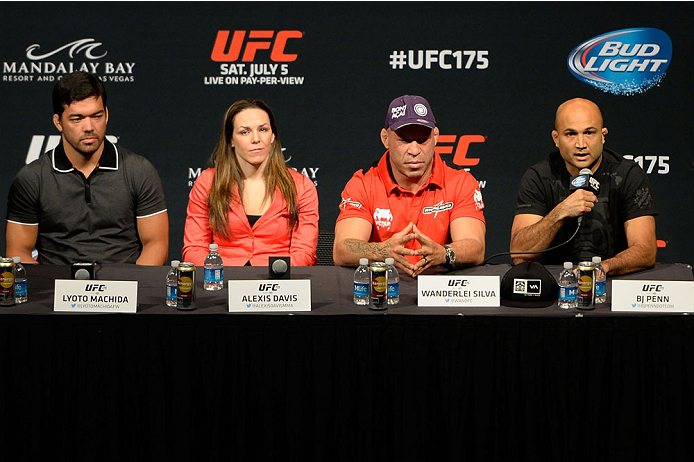 LAS VEGAS, NV - MAY 23:  (L-R) Lyoto Machida, Alexis Davis, Wanderlei Silva and BJ Penn speak to the media during the UFC 175 & The Ultimate Fighter Finale On-Sale Press Conference at the MGM Grand Garden Arena on May 23, 2014 in Las Vegas, Nevada. (Photo by Jeff Bottari/Zuffa LLC/Zuffa LLC via Getty Images)