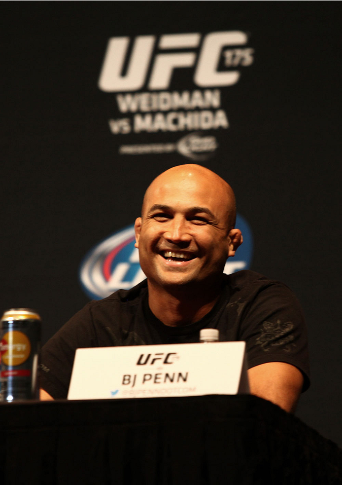 LAS VEGAS, NV - MAY 23: BJ Penn speaks to the media during the UFC 175 & The Ultimate Fighter Finale On-Sale Press Conference at the MGM Grand Garden Arena on May 23, 2014 in Las Vegas, Nevada. (Photo by Brandon Magnus/Zuffa LLC/Zuffa LLC via Getty Images)