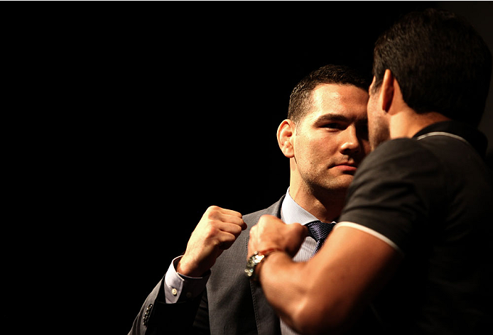 LAS VEGAS, NV - MAY 23: (L-R) UFC middleweight champion Chris Weidman and Lyoto Machida square off during the UFC 175 & The Ultimate Fighter Finale On-Sale Press Conference at the MGM Grand Garden Arena on May 23, 2014 in Las Vegas, Nevada. (Photo by Brandon Magnus/Zuffa LLC/Zuffa LLC via Getty Images)