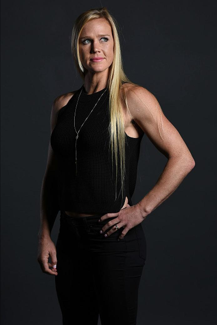 DALLAS, TX - MAY 12:  Holly Holm poses for a portrait backstage during the UFC Summer Kickoff Press Conference at the American Airlines Center on May 12, 2017 in Dallas, Texas. (Photo by Mike Roach/Zuffa LLC/Zuffa LLC via Getty Images)