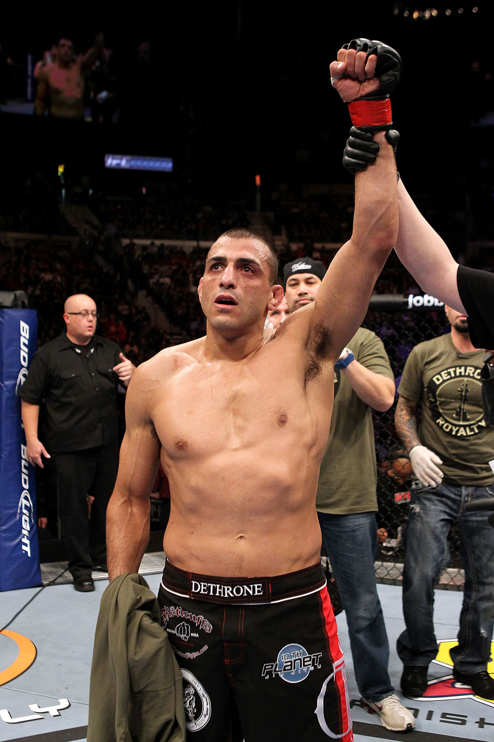 UFC 123:George Sotiropolous celebrates his victory over Joe Lauzon.