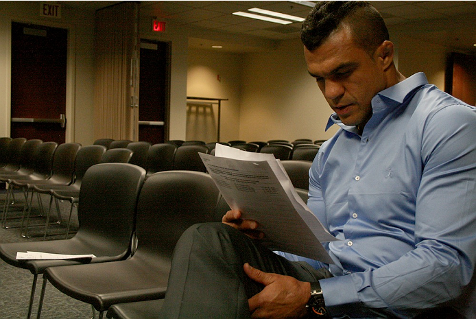 Vitor Belfort prepares for his statement to the NSAC on July 23, 2014. Belfort was granted a license to fight in Las Vegas and will compete against current UFC middleweight champion Chris Weidman at Mandalay Bay on December 6.