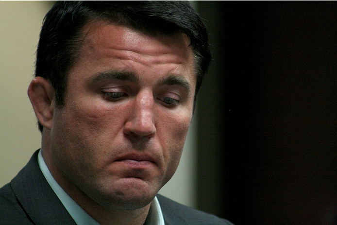 Former UFC middleweight Chael Sonnen listens to the Nevada State Athletic Commission during his hearing on July 23, 2014. Sonnen was suspended two years from competing in Las Vegas or anywhere else by the NSAC for his admitted use of banned substances earlier in 2014.