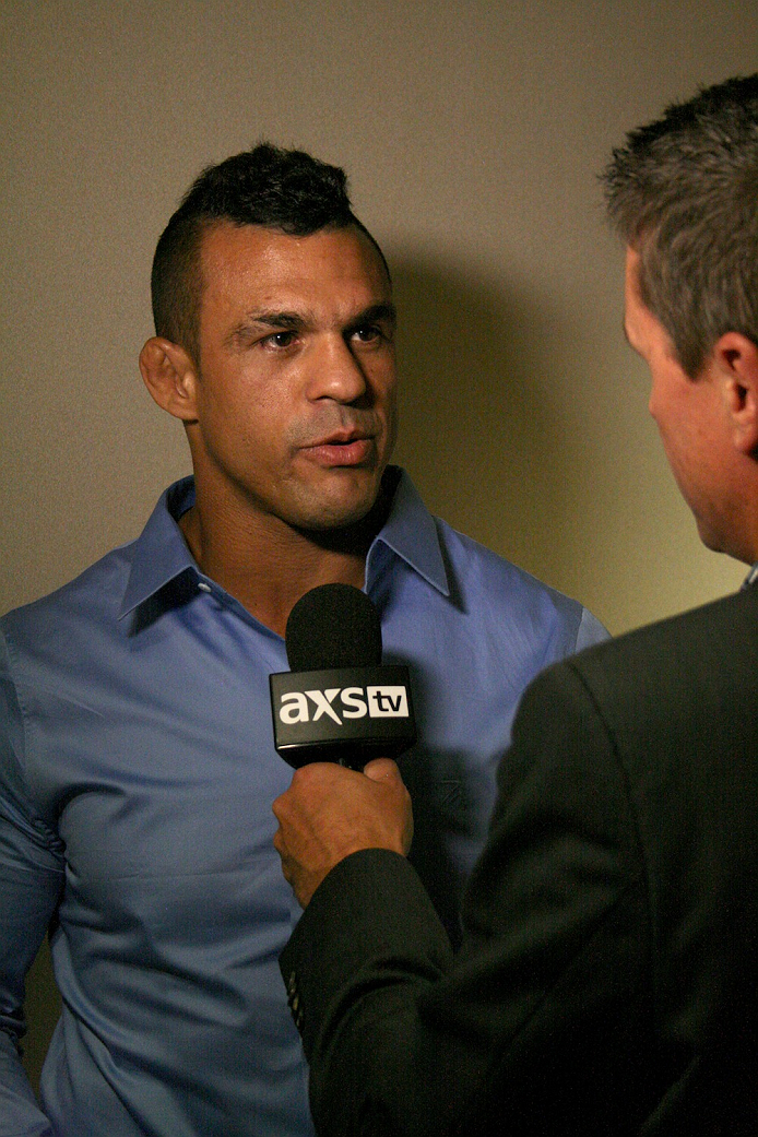 Vitor Belfort speaks to the media after his NSAC hearing on July 23, 2014. Belfort was granted a license to fight in Las Vegas and will compete against current UFC middleweight champion Chris Weidman at Mandalay Bay on December 6.