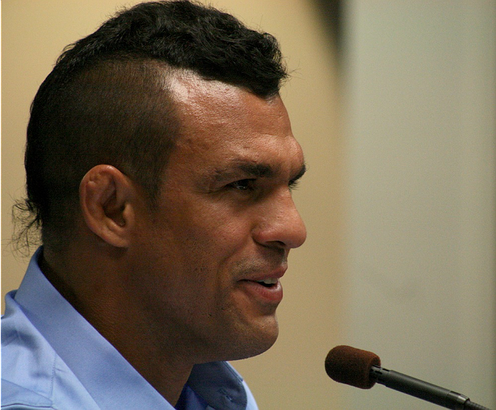Vitor Belfort speaks to the NSAC on July 23, 2014. Belfort was granted a license to fight in Las Vegas and will compete against current UFC middleweight champion Chris Weidman at Mandalay Bay on December 6.