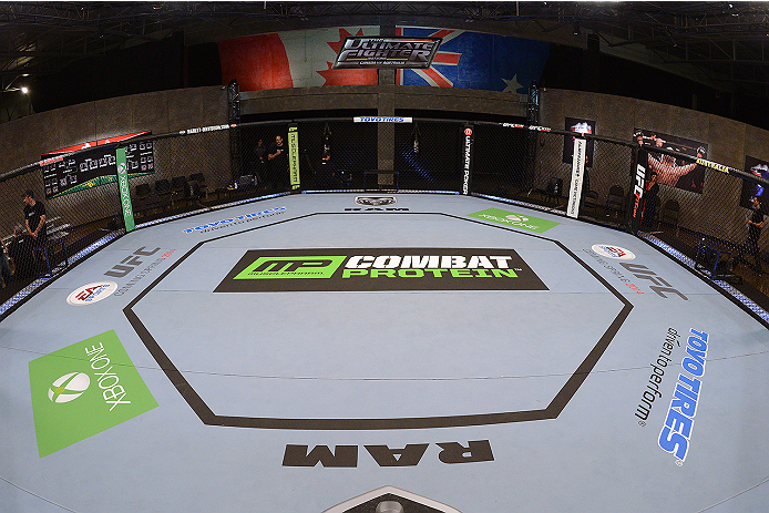 LACHUTE, CANADA - NOVEMBER 5:  A general view of the Octagon prior to Team Australia fighter Zein Saliba taking on Team Canada fighter Elias Theodorou in their middleweight bout during filming of The Ultimate Fighter Nations television series on November 5, 2013 in Lachute, Quebec, Canada. (Photo by Richard Wolowicz/Zuffa LLC/Zuffa LLC via Getty Images) *** Local Caption ***