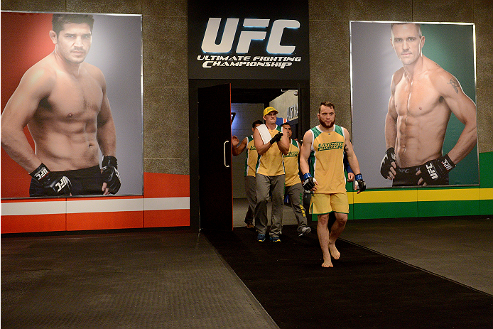 LACHUTE, CANADA - NOVEMBER 2:  Team Australia fighter Brendan O'Reilly walks towards the Octagon before taking on Team Canada fighter Kajan Johnson in their welterweight bout during filming of The Ultimate Fighter Nations television series on November 2, 2013 in Lachute, Quebec, Canada. (Photo by Richard Wolowicz/Zuffa LLC/Zuffa LLC via Getty Images) *** Local Caption *** Brendan O'Reilly