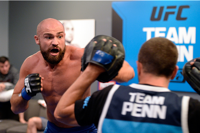 LAS VEGAS, NV - OCTOBER 24:  Team Penn fighter Cathal Pendred warms up in the locker room before facing Team Edgar fighter Hector Urbina in their preliminary fight during filming of season nineteen of The Ultimate Fighter on October 24, 2013 in Las Vegas, Nevada. (Photo by Jeff Bottari/Zuffa LLC/Zuffa LLC via Getty Images) *** Local Caption ***  Cathal Pendred