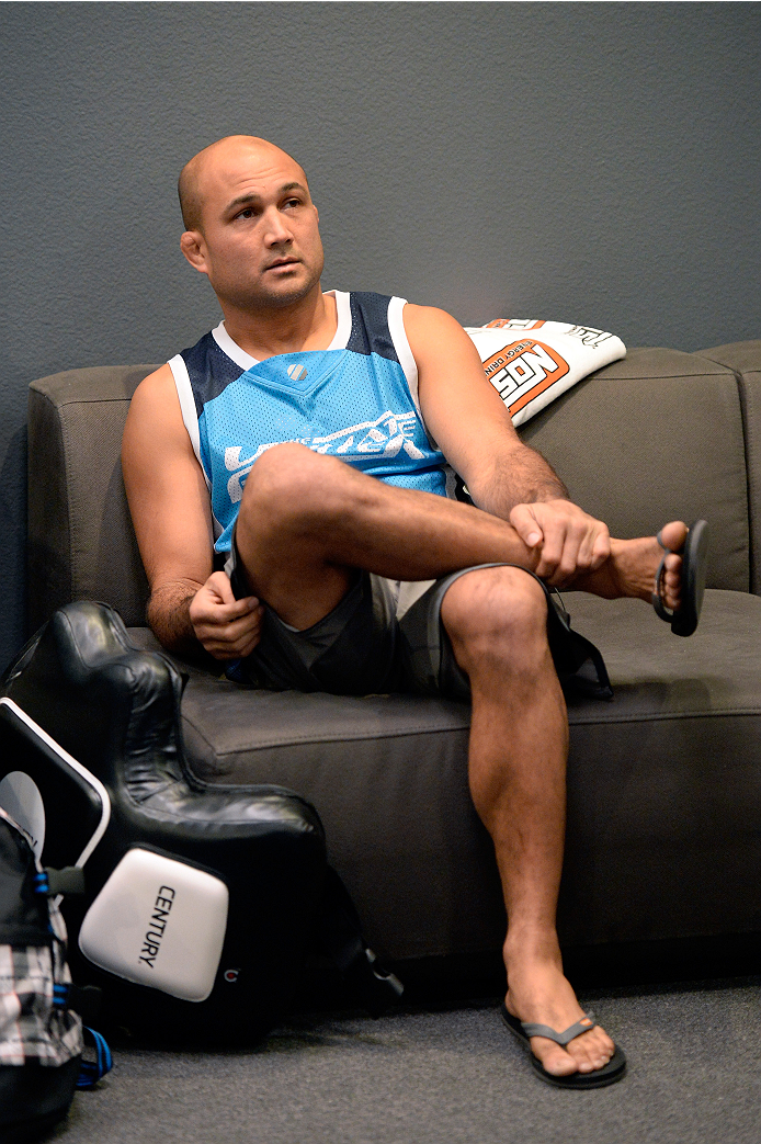 LAS VEGAS, NV - OCTOBER 24:  Coach BJ Penn instructs his fighter Cathal Pendred before taking on Team Edgar fighter Hector Urbina in their preliminary fight during filming of season nineteen of The Ultimate Fighter on October 24, 2013 in Las Vegas, Nevada. (Photo by Jeff Bottari/Zuffa LLC/Zuffa LLC via Getty Images) *** Local Caption *** BJ Penn
