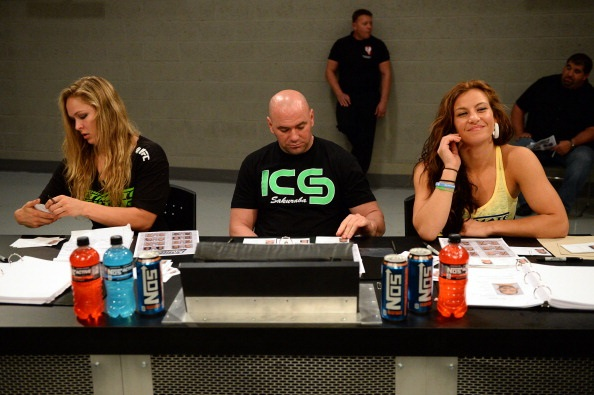 LAS VEGAS, NV - MAY 29:  (L-R) Coach Ronda Rousey, UFC President Dana White and coach Miesha Tate analyze fighters during filming of season eighteen of The Ultimate Fighter on May 29, 2013 in Las Vegas, Nevada. (Photo by Al Powers/Zuffa LLC/Zuffa LLC via Getty Images)