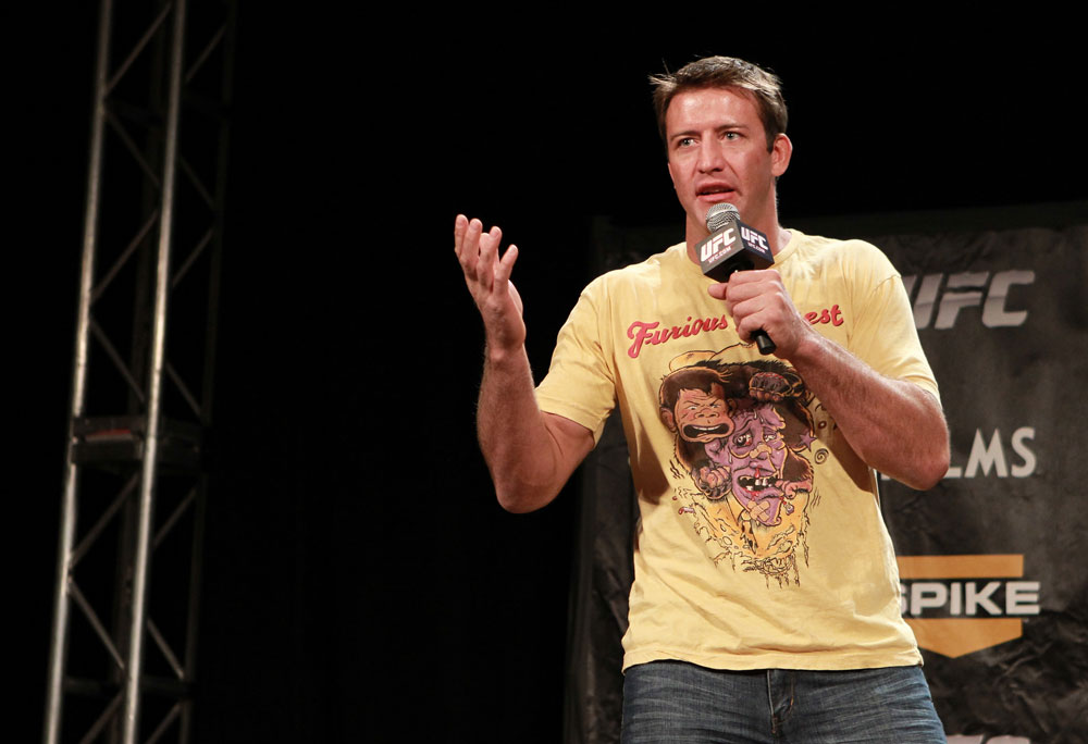 LAS VEGAS, NV - DECEMBER 02:  UFC fighter Stephan Bonnar interacts with fans during a Q&A session before the official weigh-in for The Ultimate Fighter 14 Finale at The Palms Casino Resort on December 2, 2011 in Las Vegas, Nevada.  (Photo by Josh Hedges/Zuffa LLC/Zuffa LLC via Getty Images)
