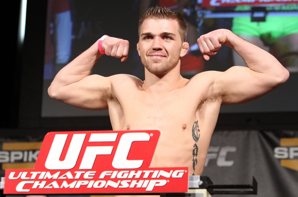 LAS VEGAS, NV - DECEMBER 02:  Bryan Caraway weighs in at the official weigh-in for The Ultimate Fighter 14 Finale at The Palms Casino Resort on December 2, 2011 in Las Vegas, Nevada.  (Photo by Josh Hedges/Zuffa LLC/Zuffa LLC via Getty Images)