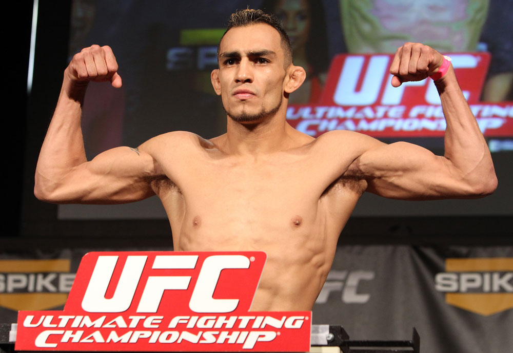 LAS VEGAS, NV - DECEMBER 02:  Tony Ferguson weighs in at the official weigh-in for The Ultimate Fighter 14 Finale at The Palms Casino Resort on December 2, 2011 in Las Vegas, Nevada.  (Photo by Josh Hedges/Zuffa LLC/Zuffa LLC via Getty Images)