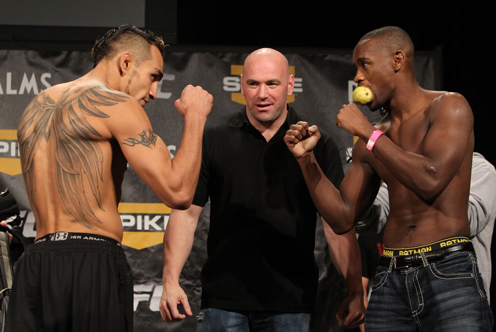LAS VEGAS, NV - DECEMBER 02:  (L-R) Lightweight opponents Tony Ferguson and Yves Edwards face off after weighing in at the official weigh-in for The Ultimate Fighter 14 Finale at The Palms Casino Resort on December 2, 2011 in Las Vegas, Nevada.  (Photo by Josh Hedges/Zuffa LLC/Zuffa LLC via Getty Images)
