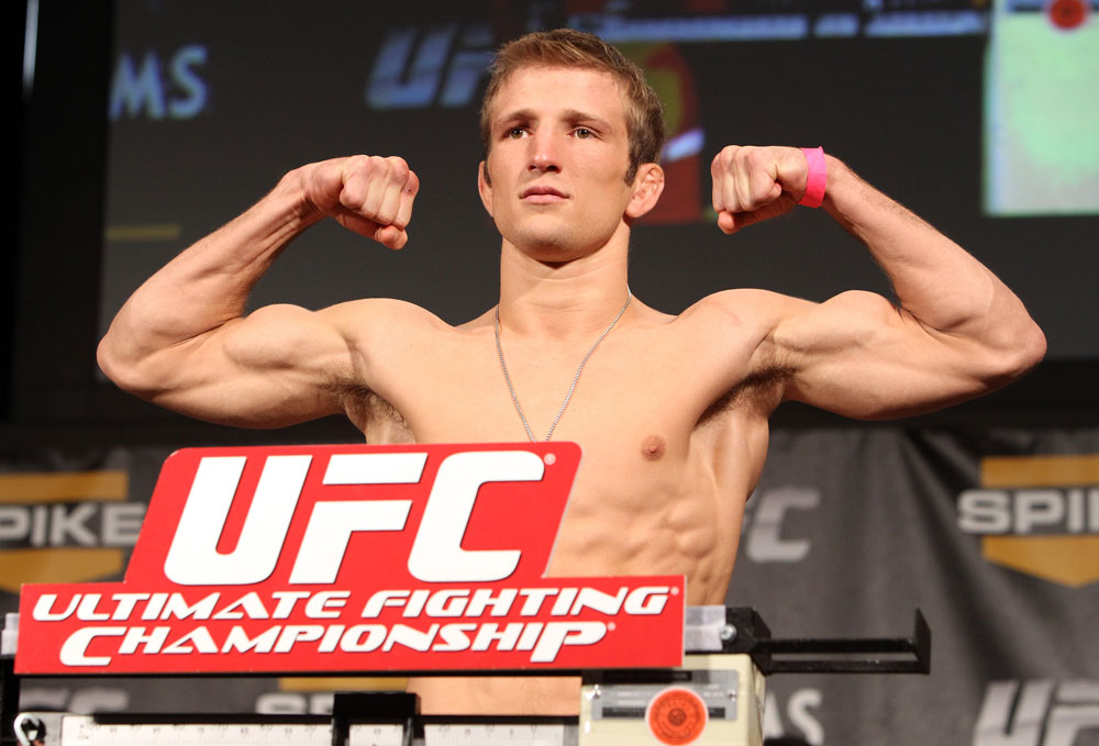 LAS VEGAS, NV - DECEMBER 02:  TJ Dillashaw weighs in at the official weigh-in for The Ultimate Fighter 14 Finale at The Palms Casino Resort on December 2, 2011 in Las Vegas, Nevada.  (Photo by Josh Hedges/Zuffa LLC/Zuffa LLC via Getty Images)