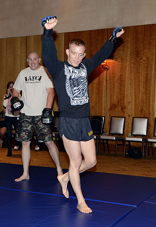 LAS VEGAS, NV - DECEMBER 13:  UFC The Ultimate Fighter Finalist Colton Smith works out for the media during the Ultimate Fighter 16 Finale open workouts at The Joint at the Hard Rock Hotel and Casino on December 13, 2012 in Las Vegas, Nevada.  (Photo by Jeff Bottari/Zuffa LLC/Zuffa LLC)