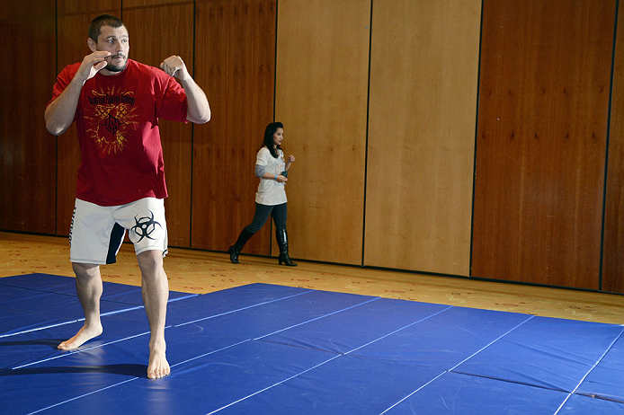 LAS VEGAS, NV - DECEMBER 13:  UFC fighter Matt Mitrione works out for the media during the Ultimate Fighter 16 Finale open workouts at The Joint at the Hard Rock Hotel and Casino on December 13, 2012 in Las Vegas, Nevada.  (Photo by Jeff Bottari/Zuffa LLC/Zuffa LLC)