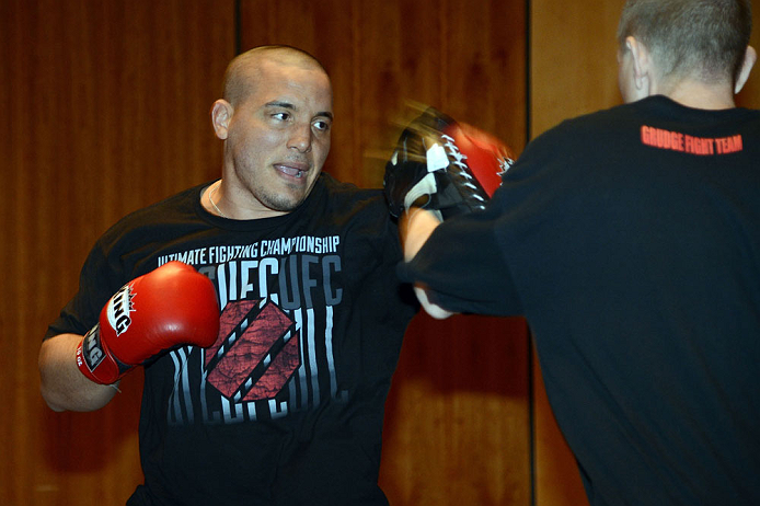 LAS VEGAS, NV - DECEMBER 13:  UFC fighter Pat Barry works out for the media during the Ultimate Fighter 16 Finale open workouts at The Joint at the Hard Rock Hotel and Casino on December 13, 2012 in Las Vegas, Nevada.  (Photo by Jeff Bottari/Zuffa LLC/Zuffa LLC)