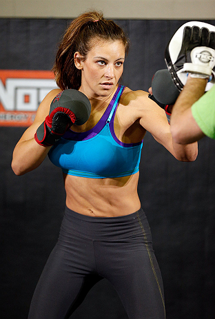 LAS VEGAS, NV - APRIL 11: Miesha Tate holds an open workout session for media at the UFC Training Center on April 11, 2013 in Las Vegas, Nevada. (Photo by Josh Hedges/Zuffa LLC/Zuffa LLC via Getty Images)