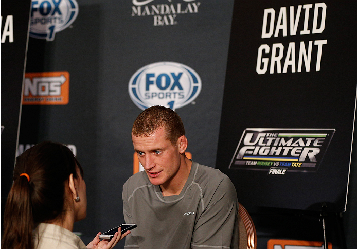 LAS VEGAS, NV - NOVEMBER 27:  The Ultimate Fighter bantamweight finalist David Grant is interviewed during media day ahead of The Ultimate Fighter season 18 live finale inside the Mandalay Bay Events Center on November 27, 2013 in Las Vegas, Nevada. (Photo by Josh Hedges/Zuffa LLC/Zuffa LLC via Getty Images)