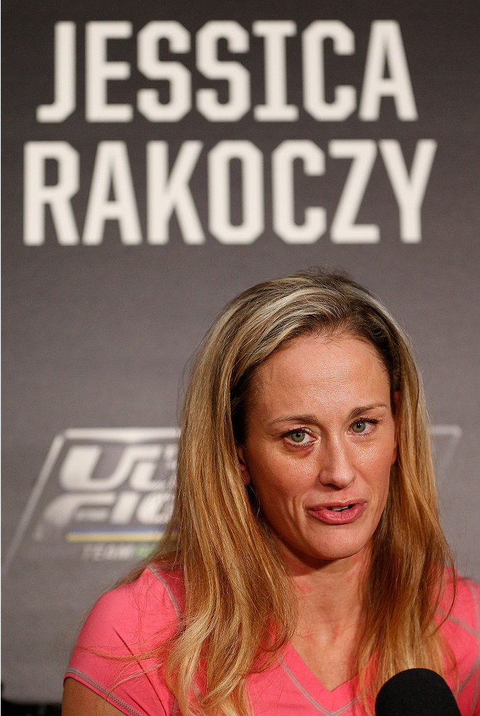 LAS VEGAS, NV - NOVEMBER 27:  The Ultimate Fighter women's bantamweight contender Jessica Rakoczy interacts with media during media day ahead of The Ultimate Fighter season 18 live finale inside the Mandalay Bay Events Center on November 27, 2013 in Las Vegas, Nevada. (Photo by Josh Hedges/Zuffa LLC/Zuffa LLC via Getty Images)