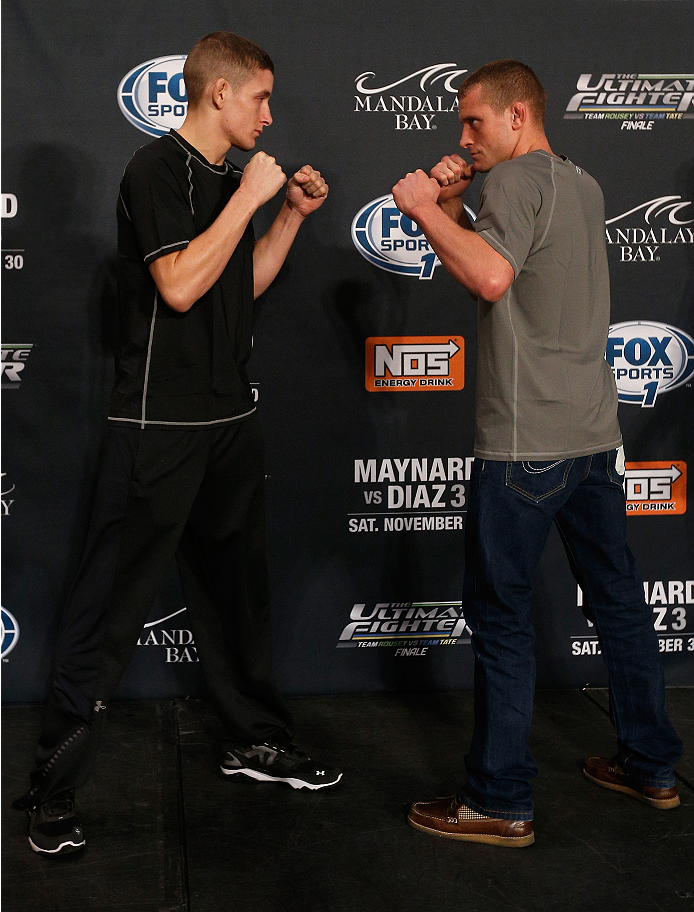 LAS VEGAS, NV - NOVEMBER 27:  (L-R) The Ultimate Fighter bantamweight finalists Chris Holdsworth and David Grant face off during media day ahead of The Ultimate Fighter season 18 live finale inside the Mandalay Bay Events Center on November 27, 2013 in Las Vegas, Nevada. (Photo by Josh Hedges/Zuffa LLC/Zuffa LLC via Getty Images)